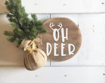Deer Christmas Round, Christmas Sign