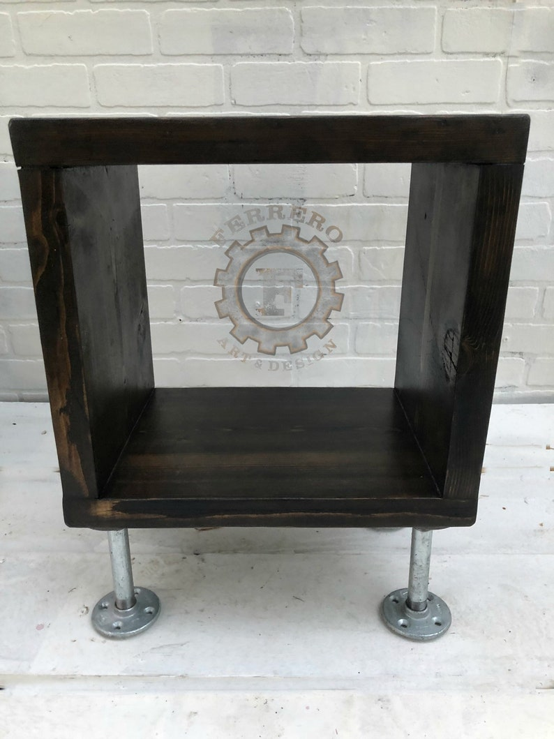 Industrial Table Pipe Table Side Table Minimalist Nightstands Pipes Wood Coffee Table Galvanized