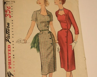 Simplicity # 1685 Dress Sewing Pattern from the 1940's size 14.5