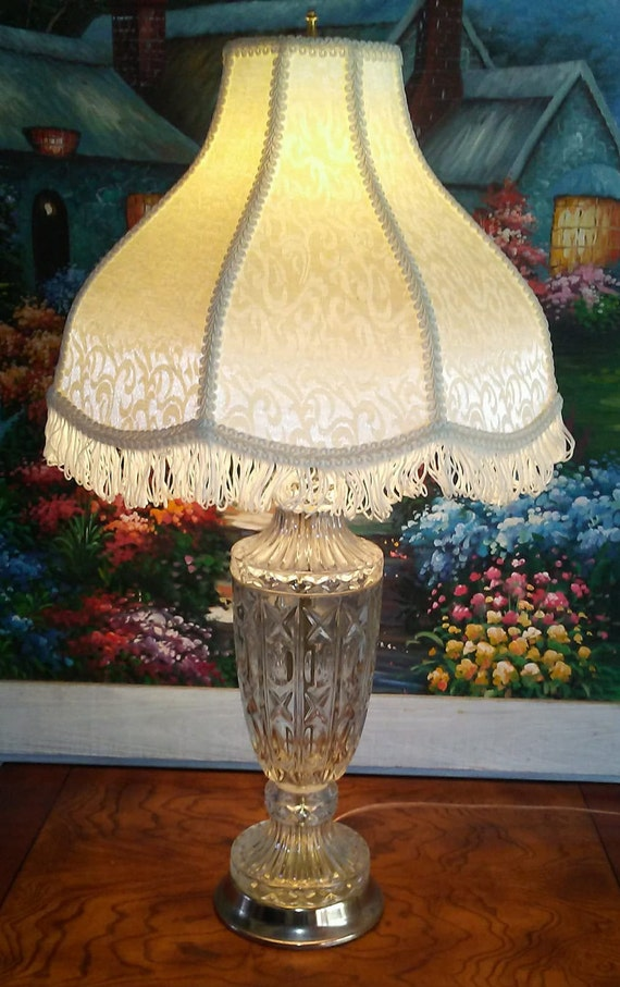 Vintage Cut Glass Table Lamp Urn Shape Table Lamp Cut Glass And Brass Accent Table Lamp Hollywood Regency Lighting
