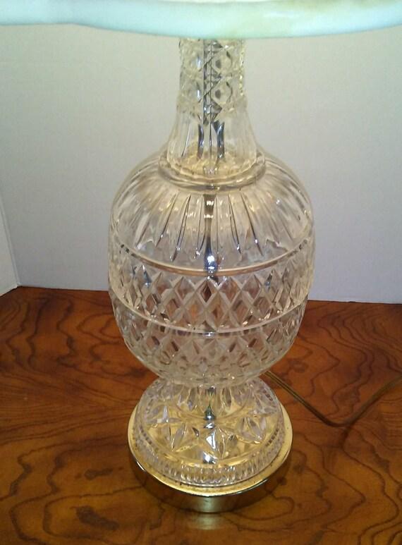 Vintage Cut Glass Table Lamp Egg Shape W Candlestick Neck Table Lamp Cut Glass And Brass Accent Table Lamp Hollywood Regency Lighting