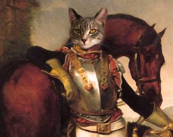 acde0923ddfd Cat Portrait, Cat Portrait Custom, Military Cat Portraits, Equestrian Art,  Pet Portraits From Photo, Custom Cat Portrait