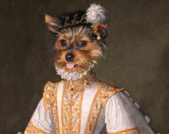 DOG  PORTRAIT, Renaissance Dog Portrait, Custom Dog Portrait, Vintage Dog Portrait