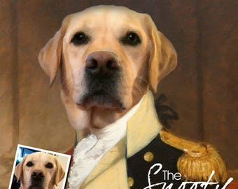Custom Dog Portrait, Pet portrait from photo, Personalized gift, Military Dog Portrait