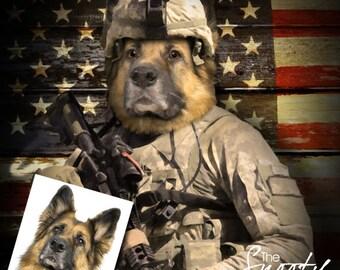 Dog Portrait, Soldier Dog PORTRAIT, Custom Dog Portrait, Military Dog Portrait
