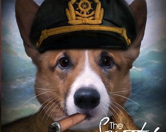 Dog Portrait, Captain dog portrait, Dog Portrait Custom, Dog Portrait Custom, Pet Portraits, Custom Pet Portraits, Pet Portraits From Photo