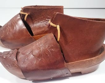 Vintage French Wood and Leather Childs Clogs from Sable, France 1918/ Primitive/Traditional
