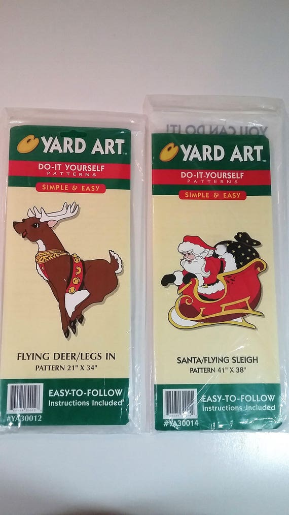 Christmas yard art do it yourself patterns never opened santa christmas yard art do it yourself patterns never opened santa flying sleigh and reindeer from terriesvintagetrunk on etsy studio solutioingenieria Images