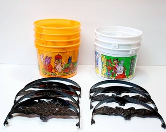 Vintage Seven McDonalds Halloween Orange and White Candy Buckets with Bat Handles 2001.