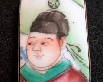 Vintage Chinese Gentleman Hand-painted Porcelain Pendant Surrounded by Silver