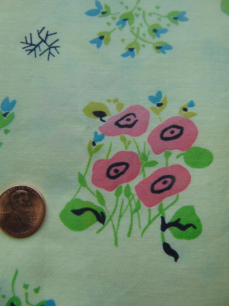 Vintage Mid Century yellow and pink  flower fabric yardage