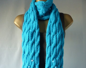 Embellished Cable Scarf E087