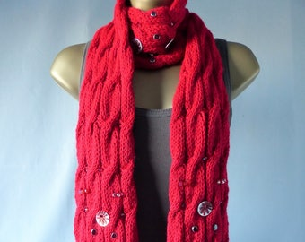 Embellished Cable Scarf E084