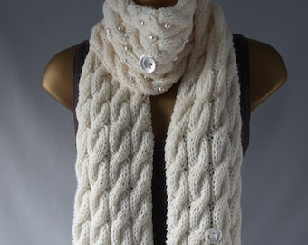Embellished Cable Scarf E851