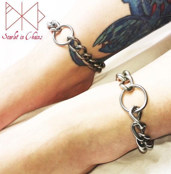 Stainless Steel Luna Ankle Cuffs Locking Anklet Bdsm Etsy