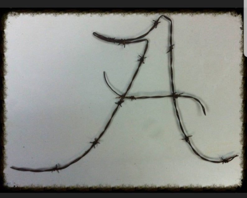 letters A Christmas gift Barbed Wire art Birthday Any font available Custom art Metal art Any letter available Home Decor