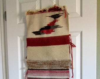 Handwoven Wall Hanging / Cream, Brown, Red and Gray / Weaving / Handmade / Boho / Abstract / Geometric / Patterns