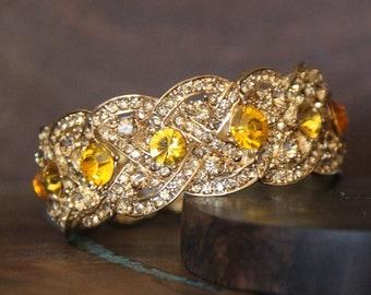 yellow bracelet, yellow and gold bracelet, yellow stretch bracelet, yellow pageant bracelet, yellow prom bracelet