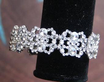 clear rhinestone bracelet, rhinestone stretch bracelet