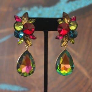 red crystal clip on earrings rhinestone green and gold multi color multi color clip on earrings yellow rhinestone clip on earrings