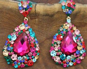 fuschia large crystal earrings, multicolor chunky earrings, pageant / prom earrings, hot pink rhinestone earrings, long multi color earrings