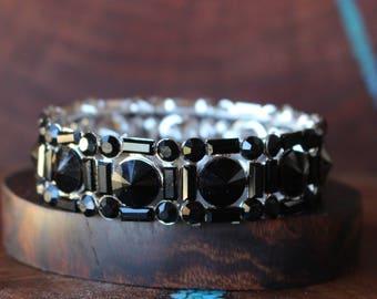 black rhinestone bracelet, black crystal bracelet, rhinestone bracelet, prom bracelet, pageant bracelet
