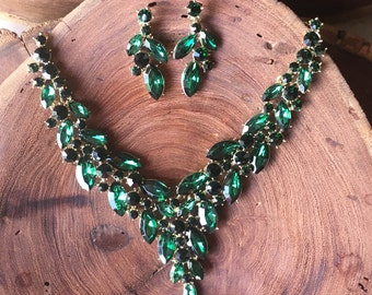 Emerald green necklace set, emerald green rhinestone necklace and earrings set, prom necklace, pageant jewelry