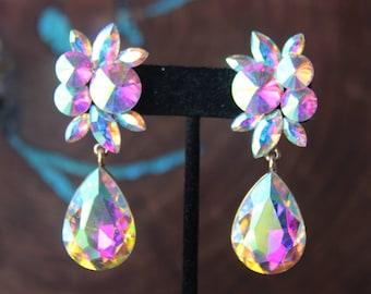 AB clip on earrings, aurora borealis clip on earrings, prom AB clip on earrings, large crystal clip on earrings, clip on evening earrings