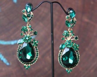 emerald earrings, emerald rhinestone earrings, green dangle earrings, green rhinestone earrings, green holiday earrings,  evening earrings