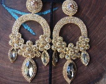 gold extra large rhinestone earrings 25b830116197