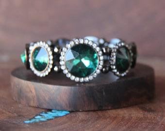emerald rhinestone bracelet, green emerald crystal bracelet, pageant bracelet, emerald prom bracelet, pageant jewelry