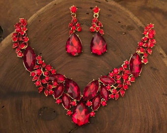 Red necklace, red rhinestone necklace and earrings set, red prom necklace set, red bridal necklace set, red evening necklace, red pageant