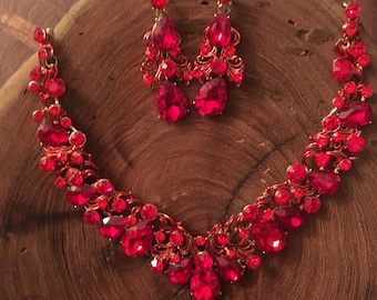 Red rhinestone necklace and earrings set, red crystal necklace and earrings, statement pageant necklace, red prom jewelry, homecoming jewelr
