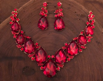 Red necklace set, red rhinestone necklace and earrings, red prom necklace set, red bridesmaid necklace and earrings set, red pageant necklac