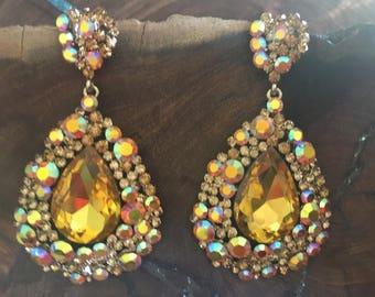 yellow earrings, ab earrings, ab crystal earrings, chunky pageant earrings, yellow rhinestone earrings, clip on prom large yellow earrings