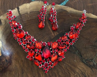 Red rhinestone necklace set, red crystal statement necklace and earrings set, pageant necklace set, prom red necklace and earrings
