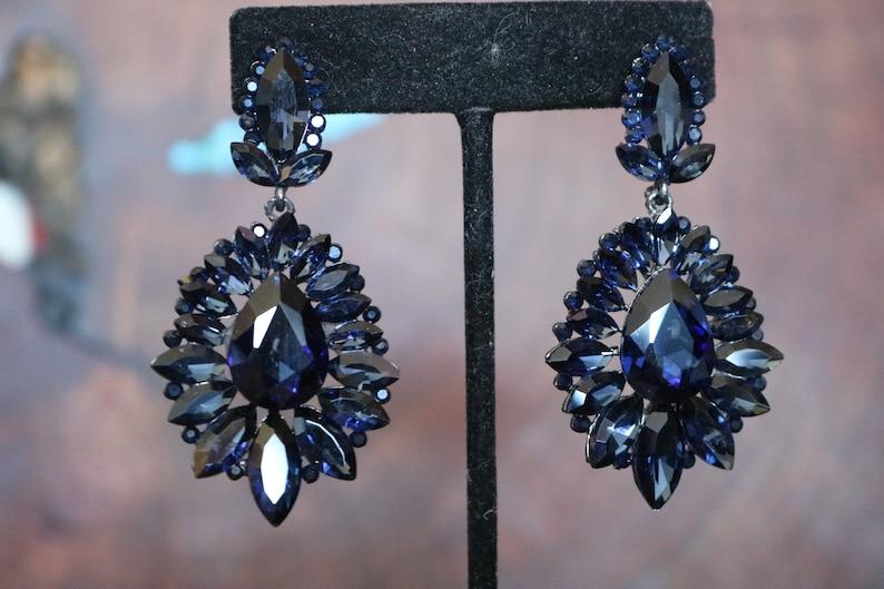 abb1f44fd Navy earrings navy prom earrings dark blue rhinestone   Etsy