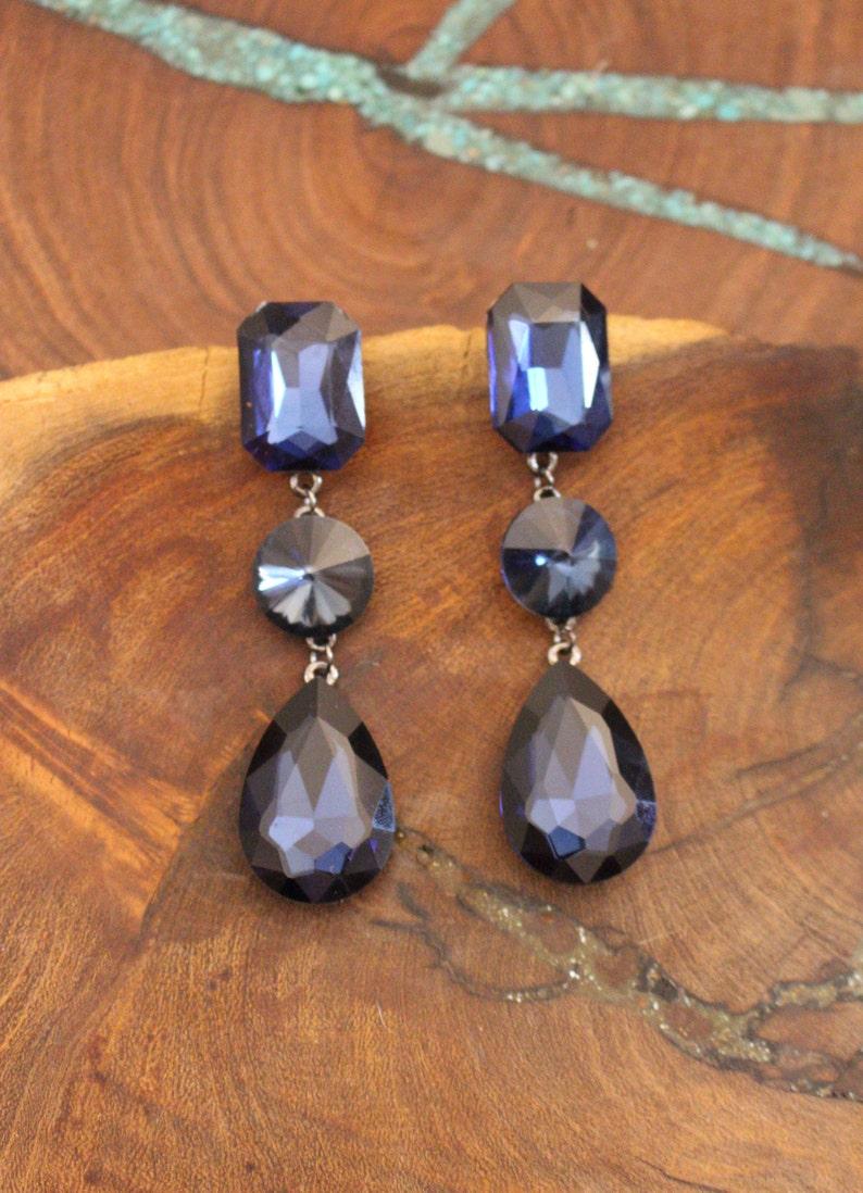 112879723 Navy blue long earrings navy rhinestone earrings navy   Etsy