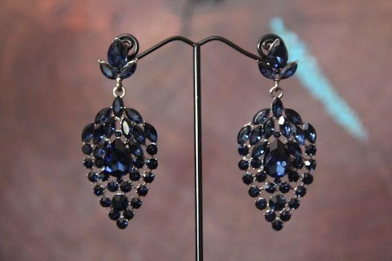 0670c3e66 Navy dangle earrings navy blue rhinestone earrings montana   Etsy