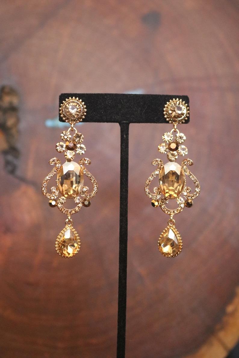 6ec69a572a4fe gold dangle earrings, gold bridal earrings, gold rhinestone earrings, gold  bridesmaid earrings, gold crystal prom earrings