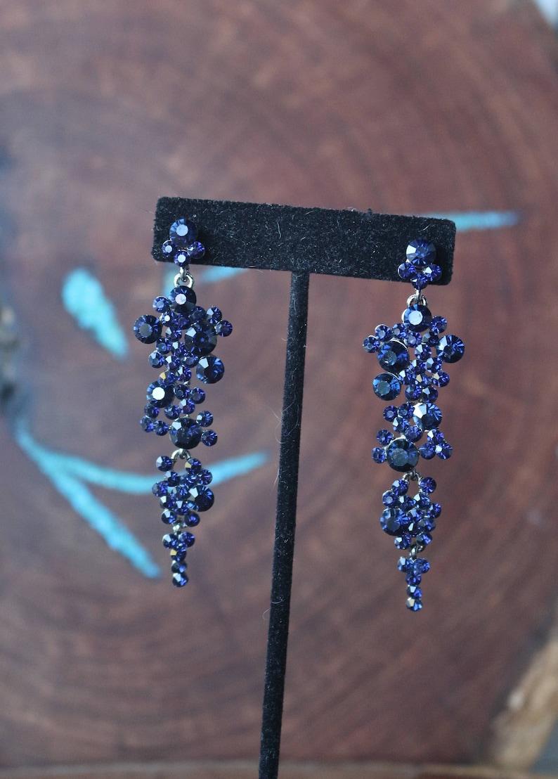 5f4dd1a3b Navy blue rhinestone earrings navy earrings navy crystal   Etsy