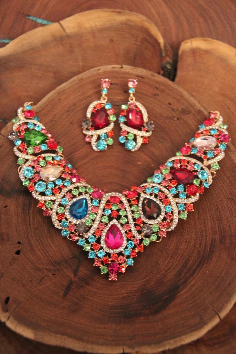 prom multi color necklace multicolor necklace pageant multicolor necklace set statement necklace set multi color rhinestone necklace