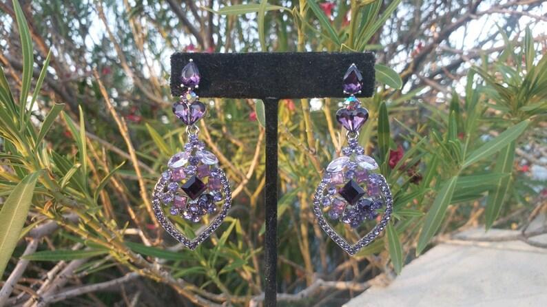 purple evening earrings Purple rhinestone earrings lilac crystal earrings purple prom earrings lavender earrings