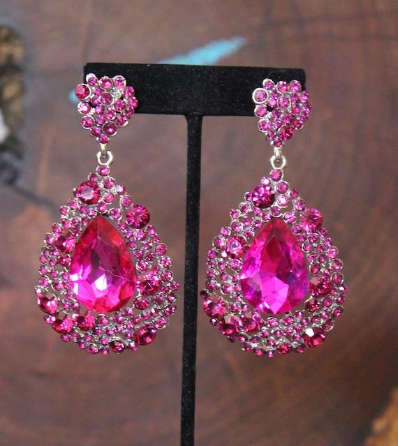 Hot Pink Earrings Fuchsia Earrings Silver Teardrop Earrings Party Earrings Elegant Earrings