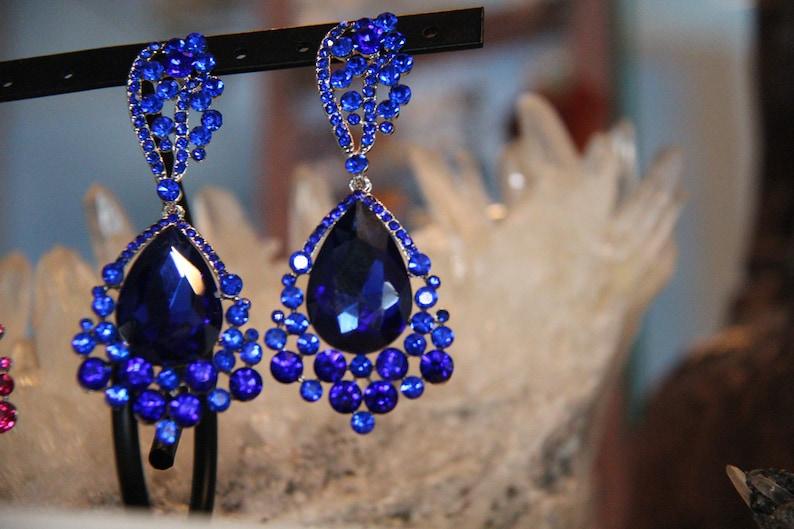 blue large crystal earrings royal blue rhinestone earrings image 0