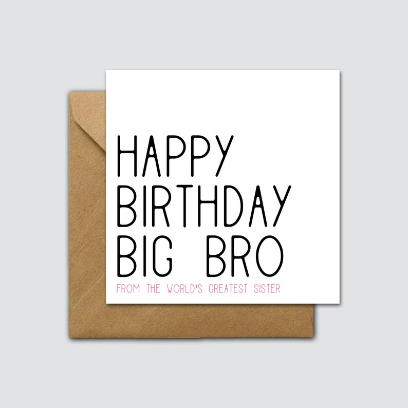 Funny Big Brother Birthday Card Big Brother Birthday Card