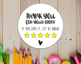 Review Stickers - Thank You Stickers - Sticky Labels - Leave A Review Stickers - Packaging Supplies - Thank You Review Stickers