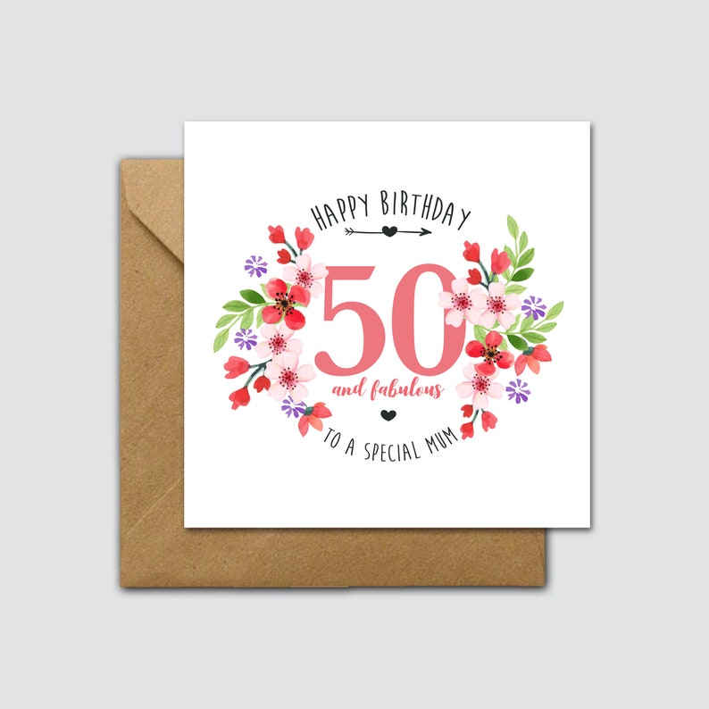 Fab 50 Birthday: 50 & Fabulous Card Mum 50th Birthday Card 50th Birthday