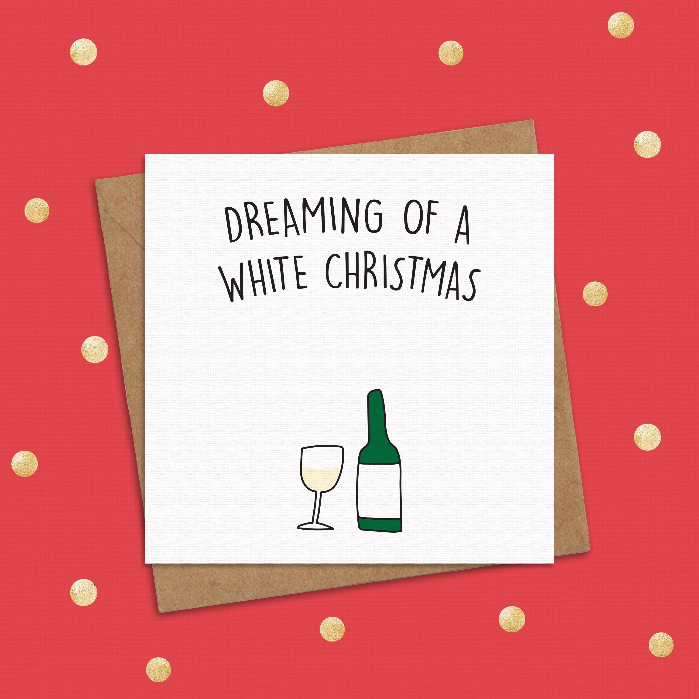 White Christmas Card Funny Christmas Card Wine Christmas | Etsy