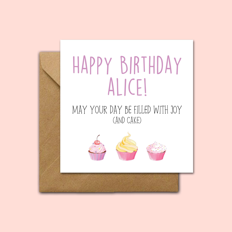 Freude Kuchen Personalisierte Karte Beste Freundin Etsy